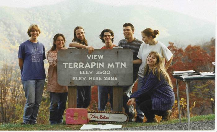 Some of the original organizers of SEDG/Wild Virginia tabling on the BR Parkway in 1996 to protect interior forests and Peaks of Otter salamander habitat on Terrapin Mountain. —Christina Wulf, Kristy Kilpela, Tom Cormons, Jerry McGuire, Eric Nielsen, Margaux Brown, and Jennifer Nalbone.